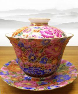 bát trà sứ vẽ tay