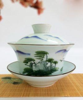 bát trà sứ sơn thủy