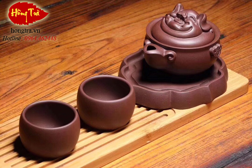 bộ trà tử sa hình con heo