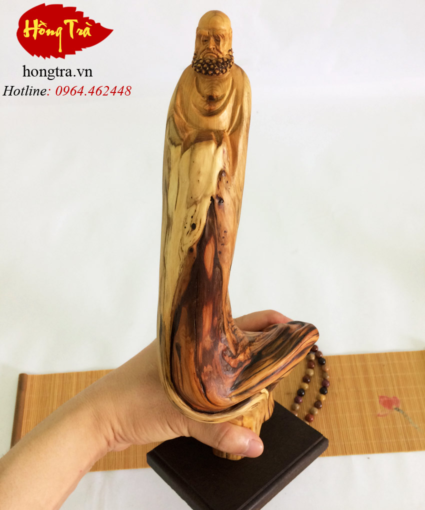 Tượng gỗ đạt ma gỗ nhai bách TGDM12