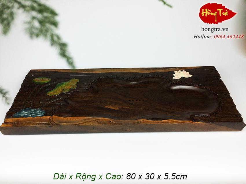 bàn trà gỗ nguyên khối hắc tử đàn V14