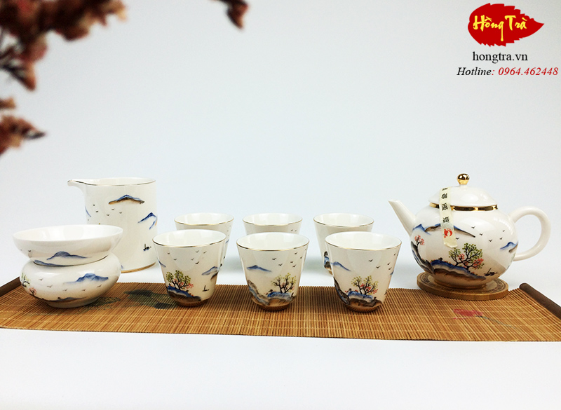 Bộ ấm chén sứ pha trà V42