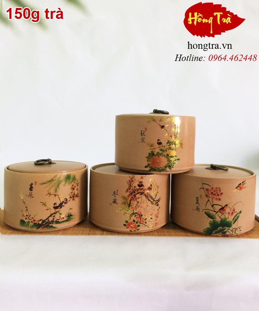 Hũ đựng trà sứ HTS09