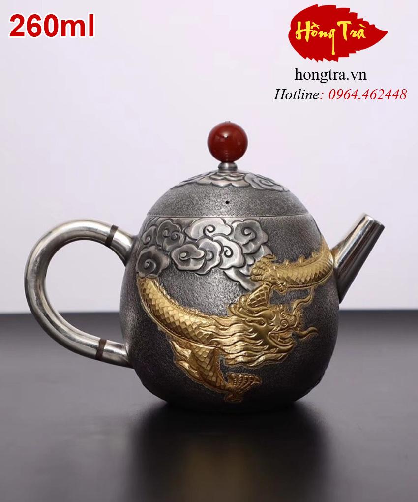 Ấm bạc rồng pha trà ABPT10